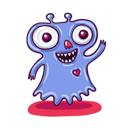 say hello: Cute little purple monster illustration. Say hello to magical creatures.