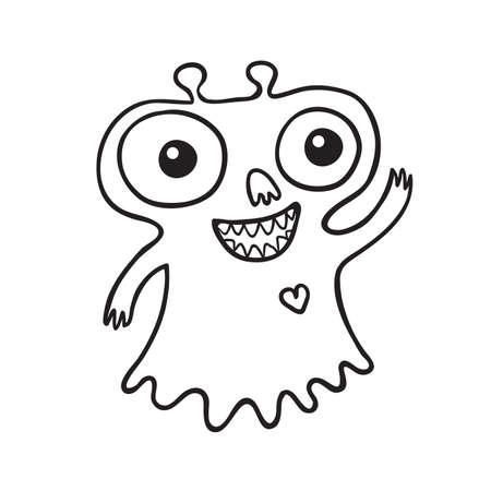hello heart: Cute little outline monster illustration. Black and white contour. Illustration