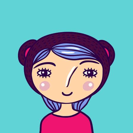Pretty Little Girl Portrait color illustration. Pretty face and purple hair.