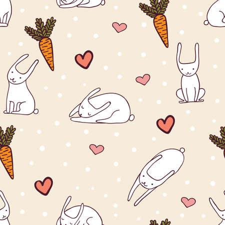baby sleep: Cute bunnies white seamless pattern illustration. Illustration