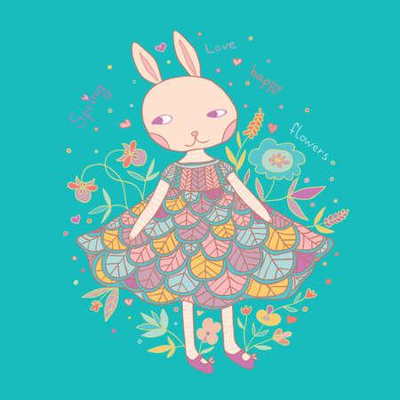 girl in nature: Cute little bunny girl in dress illustration. Illustration