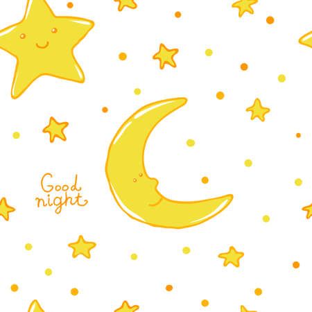 nightwear: Good night and sweet dreams seamless pattern. Lovely moon and stars for your design.