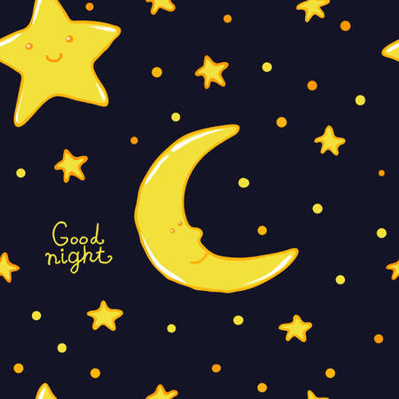 sweet dreams: Good night and sweet dreams seamless pattern. Lovely moon and stars for your design.