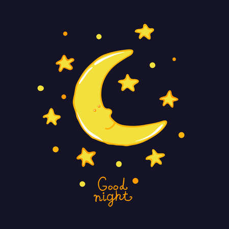 sweet dreams: Good night and sweet dreams illustration. Lovely moon and star for your design.