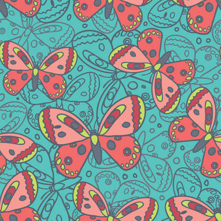 pink butterfly: Beautiful butterfly blue spring seamless vector pattern.