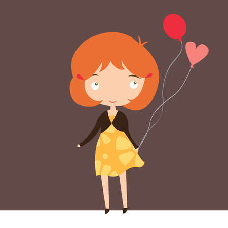 yellow dress: Cute ginger girl with balloons in yellow dress vector illustration.