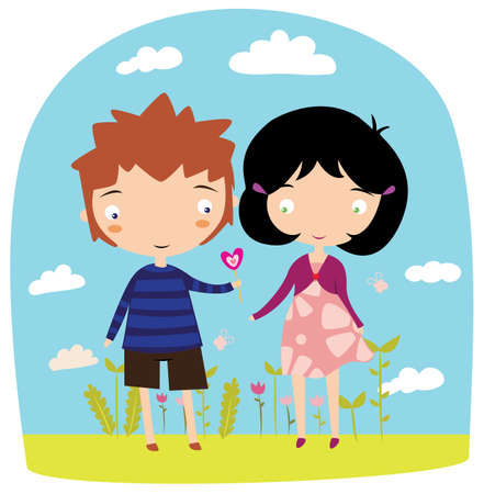 child couple: Boy gives girl lollipop on dating cute vector illustration. Love greeting card. Illustration