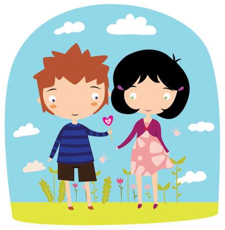 ragazza innamorata: Il ragazzo d� ragazza lecca-lecca sulla datazione illustrazione vettoriale cute. Amore biglietto di auguri.