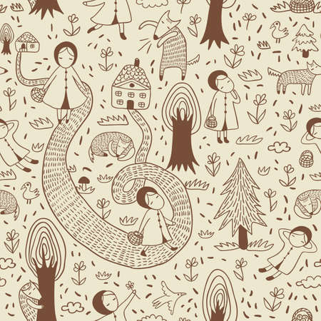 little colours: Red Riding Hood cute vector seamless pattern.