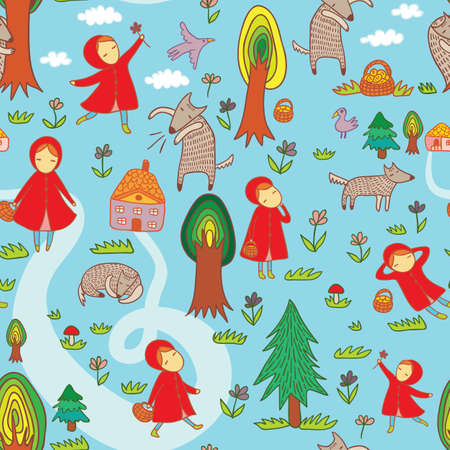 blue  red: Red Riding Hood cute vector seamless pattern.