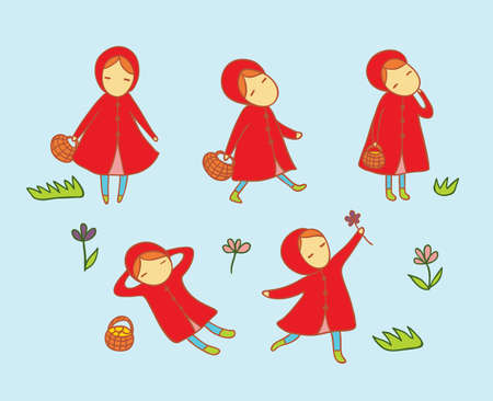 lie down: Set with little girl in red. Character activity.