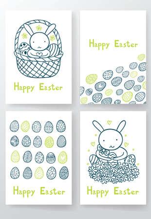 Cuatro Conejos Lindo Y Dulce Del Color De Los Huevos De Pascua En El ...
