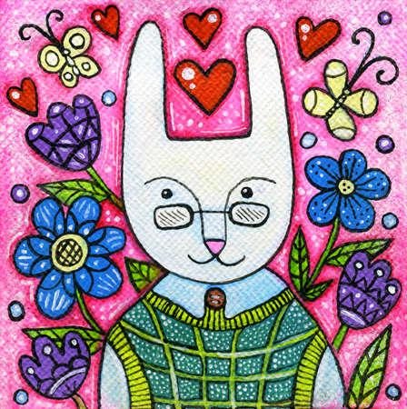 children painting: Spring rabbit portrait acrylic illustration. Acrylic painting. Illustration for children. Stock Photo