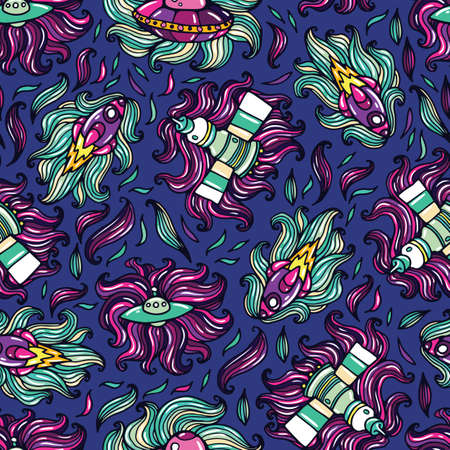 illuminator: Spaceships doodle seamless pattern. Vector cartoon image about space trip.