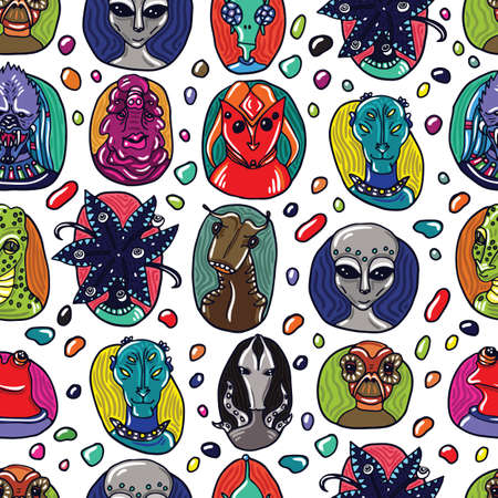 monster movie: Alien portraits seamless pattern. Fictional creatures from another planet. Vector cartoon characters. Illustration