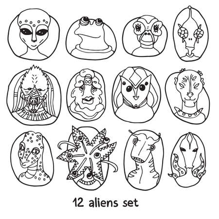 dossier: Alien portraits black and white set. Fictional creatures from another planet. Vector cartoon characters. Fantastic space dossier. Illustration