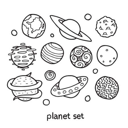fictional: Cartoon set of fictional planets. Fantasy worlds collection. Cute vector illustration. Good for coloring book.