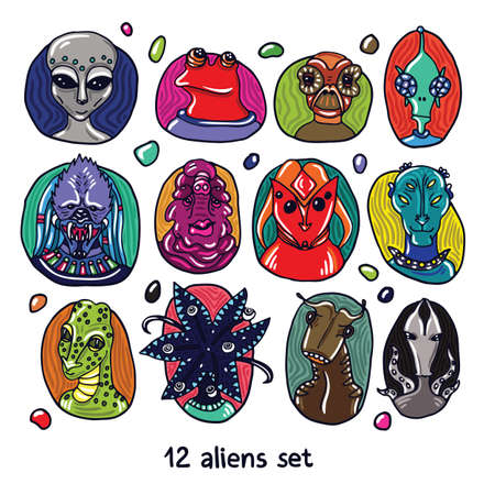dossier: Alien portraits colorful set. Fictional creatures from another planet. Vector cartoon characters. Fantastic space dossier