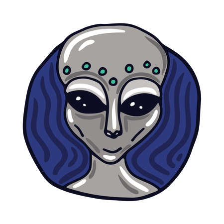 greys: Portrait of a Roswell Greys alien. Fictional creature from another planet. Vector cartoon character.