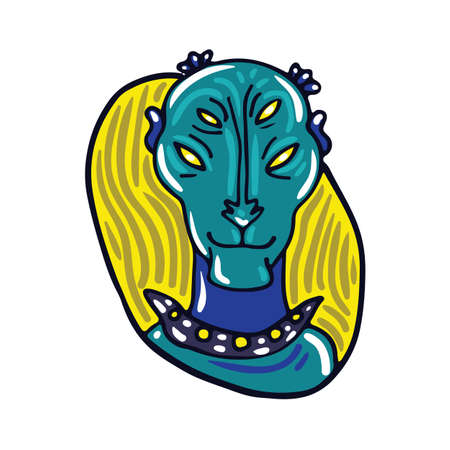 peaceful: Portrait of a peaceful blue alien. Fictional creature from another planet. Vector cartoon character. Illustration