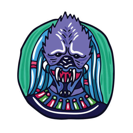 space invader: Portrait of a purple predatory alien. Fictional creature from another planet. Vector cartoon character. Illustration