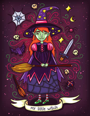 witchcraft: Cute little witch in purple dress. Illustration about witches holidays of or Helloween. Witchcraft everywhere.
