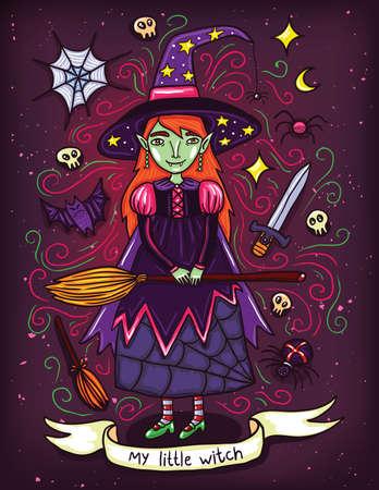pequeña bruja linda en vestido púrpura. Ilustración sobre los días de fiesta de las brujas o Helloween. La brujería en todas partes.