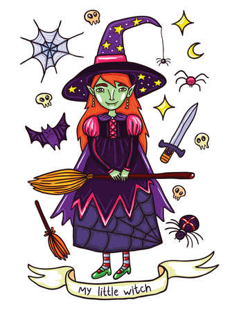 holliday: Cute little witch in purple dress. Illustration about witches holidays of or Helloween. Witchcraft everywhere. Isolated on white background. Illustration