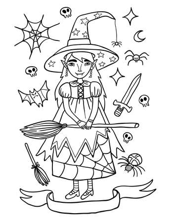 helloween: Cute little witch in purple dress. Outline illustration about witches holidays of or Helloween. Witchcraft everywhere. Illustration