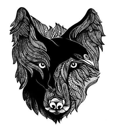 white flight feathers: Wolf and raven black and white art illustration.