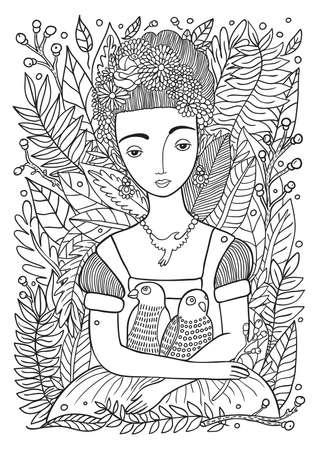 Retrato De La Mujer Moderna Mexicana O Española Whit Accesorios De ...