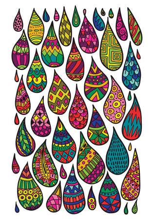bright color: Decorative patterned drops illustration. Bright ethnic design elements. Illustration