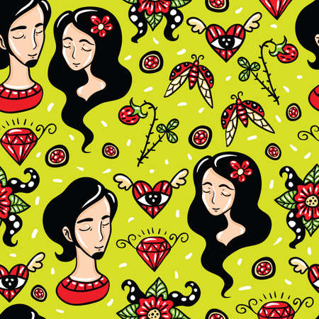 he is beautiful: Happy Lovers beautiful vector seamless pattern with green background.