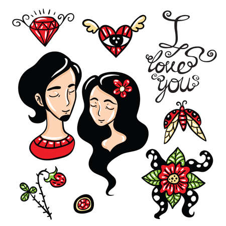he is beautiful: Happy lovers elements collection and cute lettering. Illustration