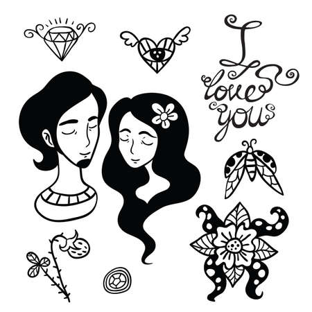he is beautiful: Happy lovers outline elements collection and cute lettering. Illustration