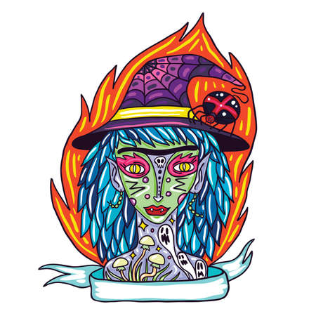 bewitched: Portrait of scary witch with tattoo illustration.