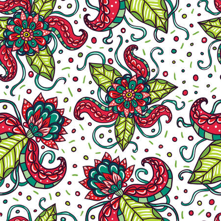 fictional: Fictional flowers with tentacles white seamless pattern.