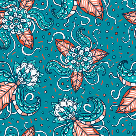 tentacles: Fictional flowers with tentacles blue seamless pattern.