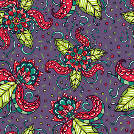 fictional: Fictional flowers with tentacles purple seamless pattern.