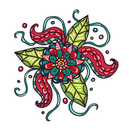 fictional: Fictional flowers with tentacles illustration on white background. Illustration