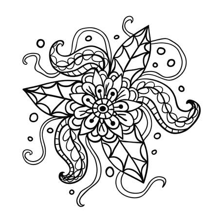 fictional: Fictional flowers with tentacles outline illustration on white background.