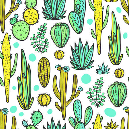 Beautiful hand drawn cacti abstract natural seamless pattern.