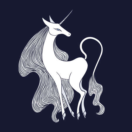 bestiary: Graceful famel unicorn illustration on dark background. Illustration