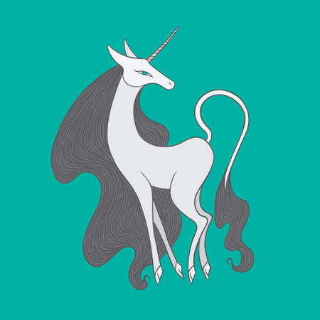 bestiary: Graceful famel unicorn illustration on blue background.