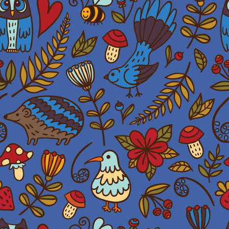 Forest Doodle Seamless Pattern Ilustrace