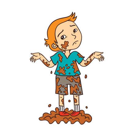 Little Boy Playing in Dirty mud Cartoon Illustration