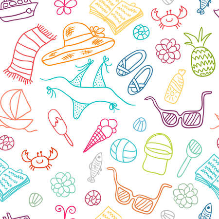 Beach Cute Doodle Pattern Illustration