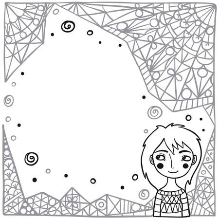 Cute Bear On Abstract Background Coloring Page. Children\'s Book ...