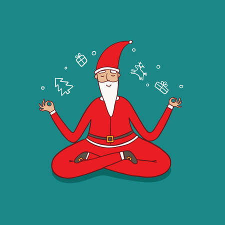 Santa Claus Doing Yoga Meditation. Illustration