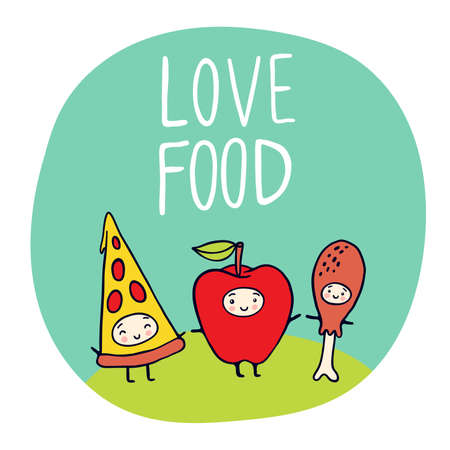 Love Food ecological illustration with funny characters.